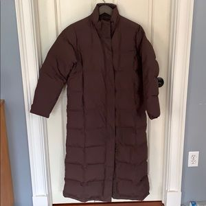 L.L. Bean Brown Quilted Down Long Jacket Size M